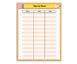 Back-To-School Sign-Up Sheet