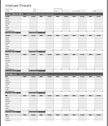 Employee Timecard Template