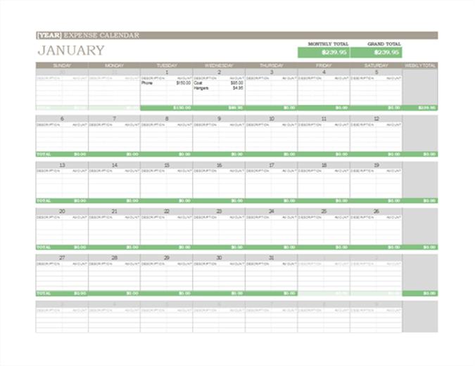 Any Year Green Calendar