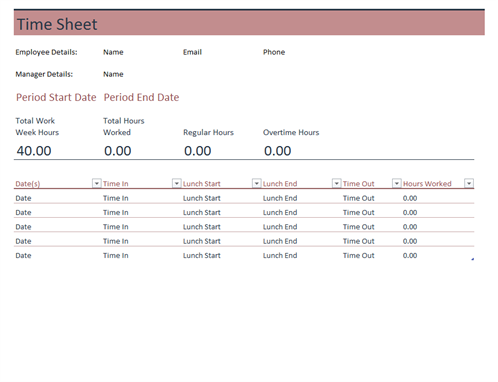 Basic Timesheet Template
