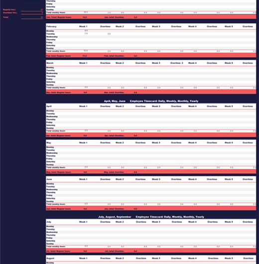 Blue and Red Timesheet