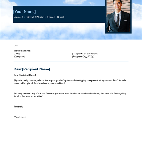 Blue Sky Cover Letter Template