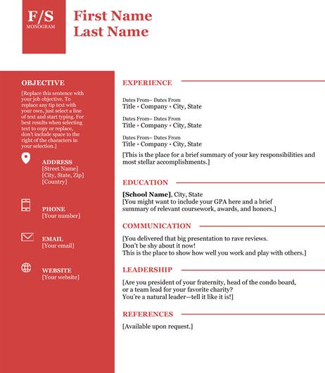 Bold Monogram Resume Template