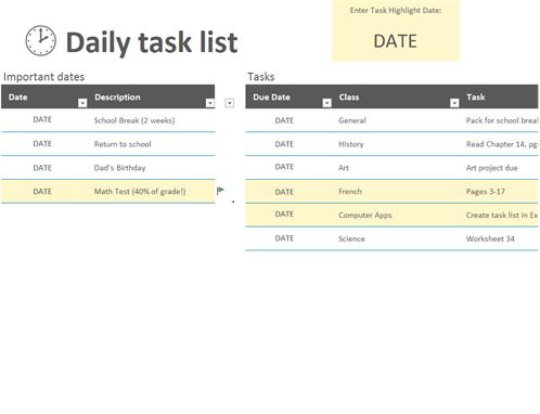 Daily Task Checklist