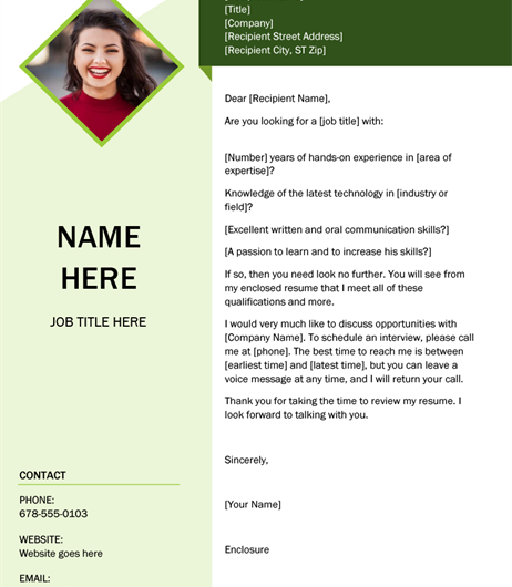 Green Cube Cover Letter Template