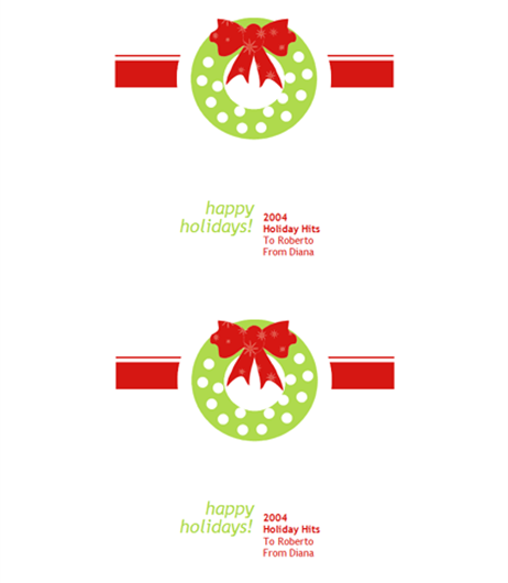 Holiday Wreath CD-DVD Label