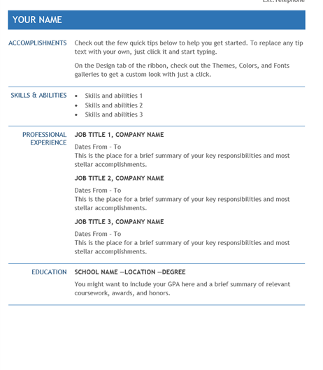 Internal Transfer Resume Template