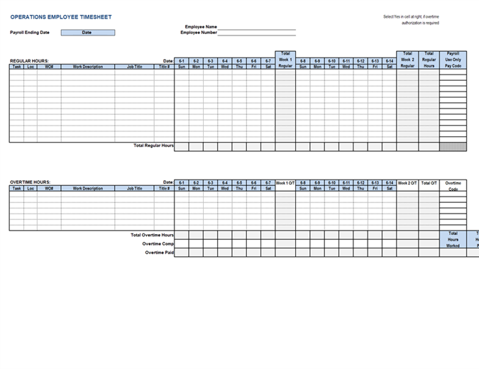 Employee Operations Timesheet