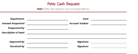 Petty Cash Request Slip Template