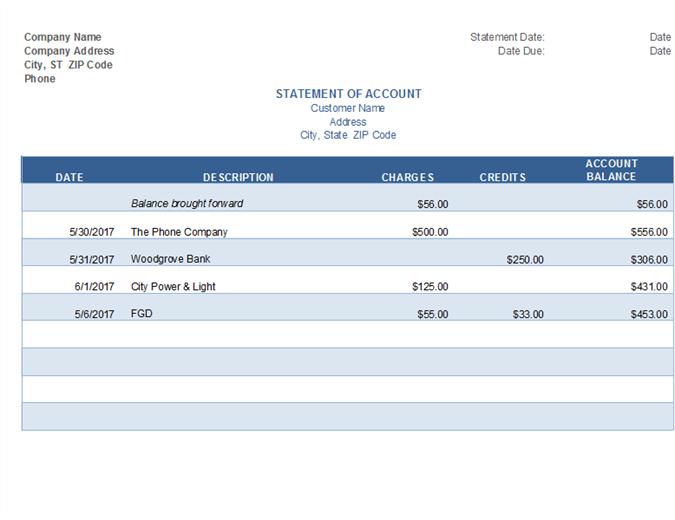 Statement of Account Invoice