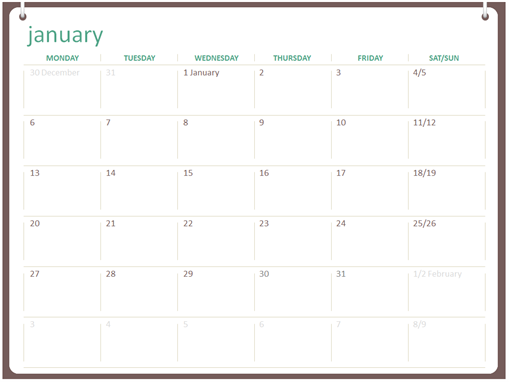 Wall Calendar Two Ring Design