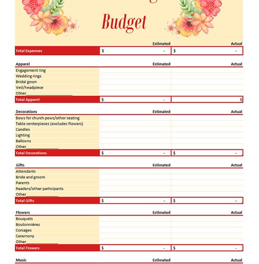Wedding Budget Planner Version 2